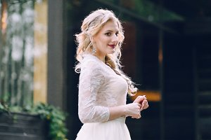 Beautiful blonde bride in vintage dress. Artwork