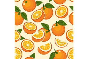 Orange fruit seamless pattern