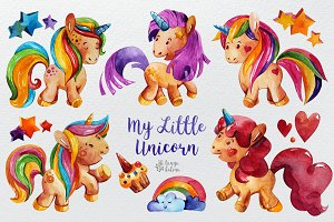 My Little Unicorn. Watercolor Set.