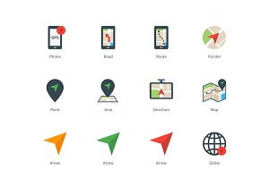 Navigator and GPS color icons