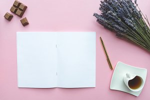 Notebook on pink background