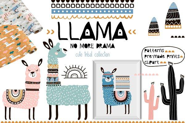 Llama cute tribal collection