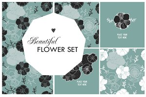 Flower set illustrations + patterns