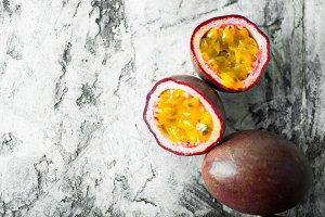slice ripe passion fruit