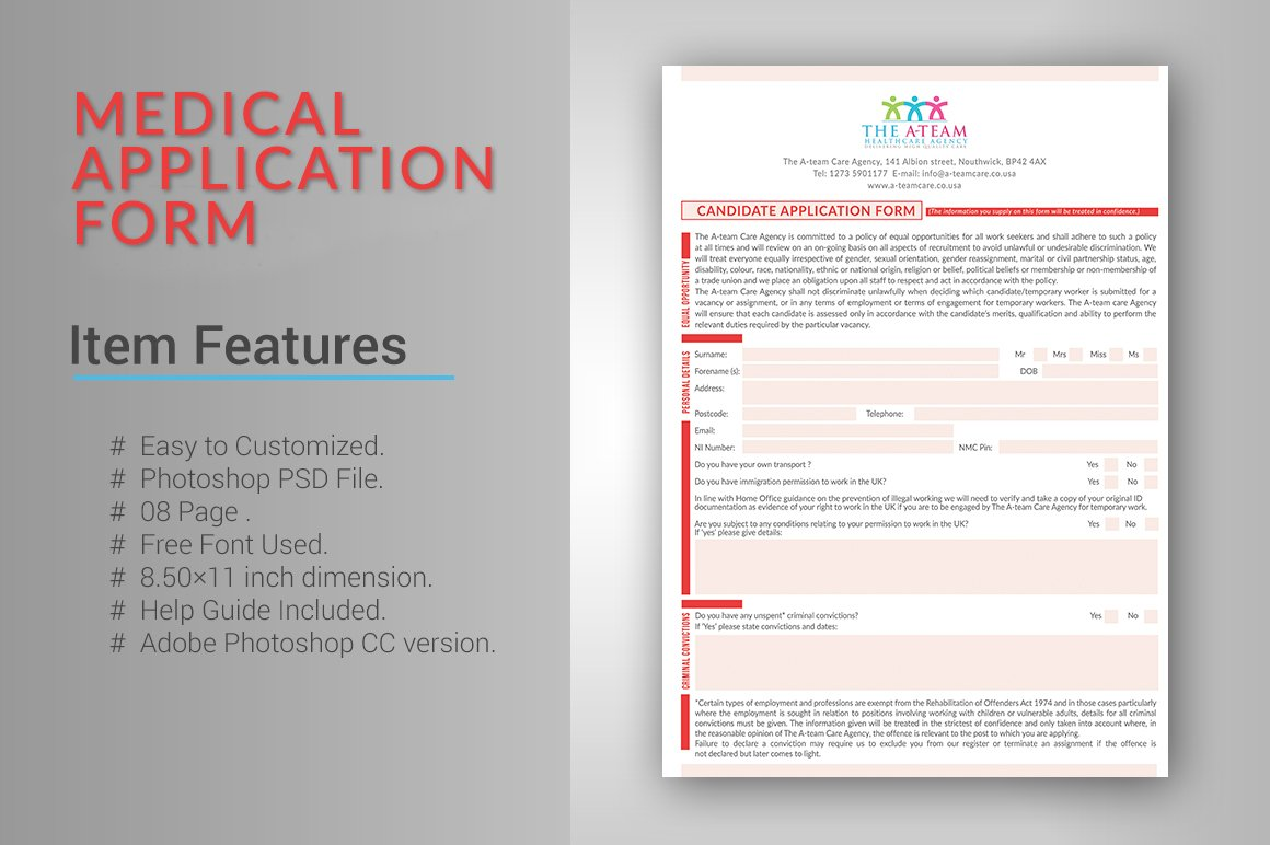 Medical Application Form Stationery Templates Creative