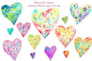 Watercolor Clipart Abstract Hearts