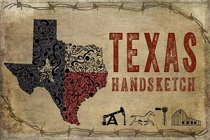 Texas Hand Sketched Illustrations