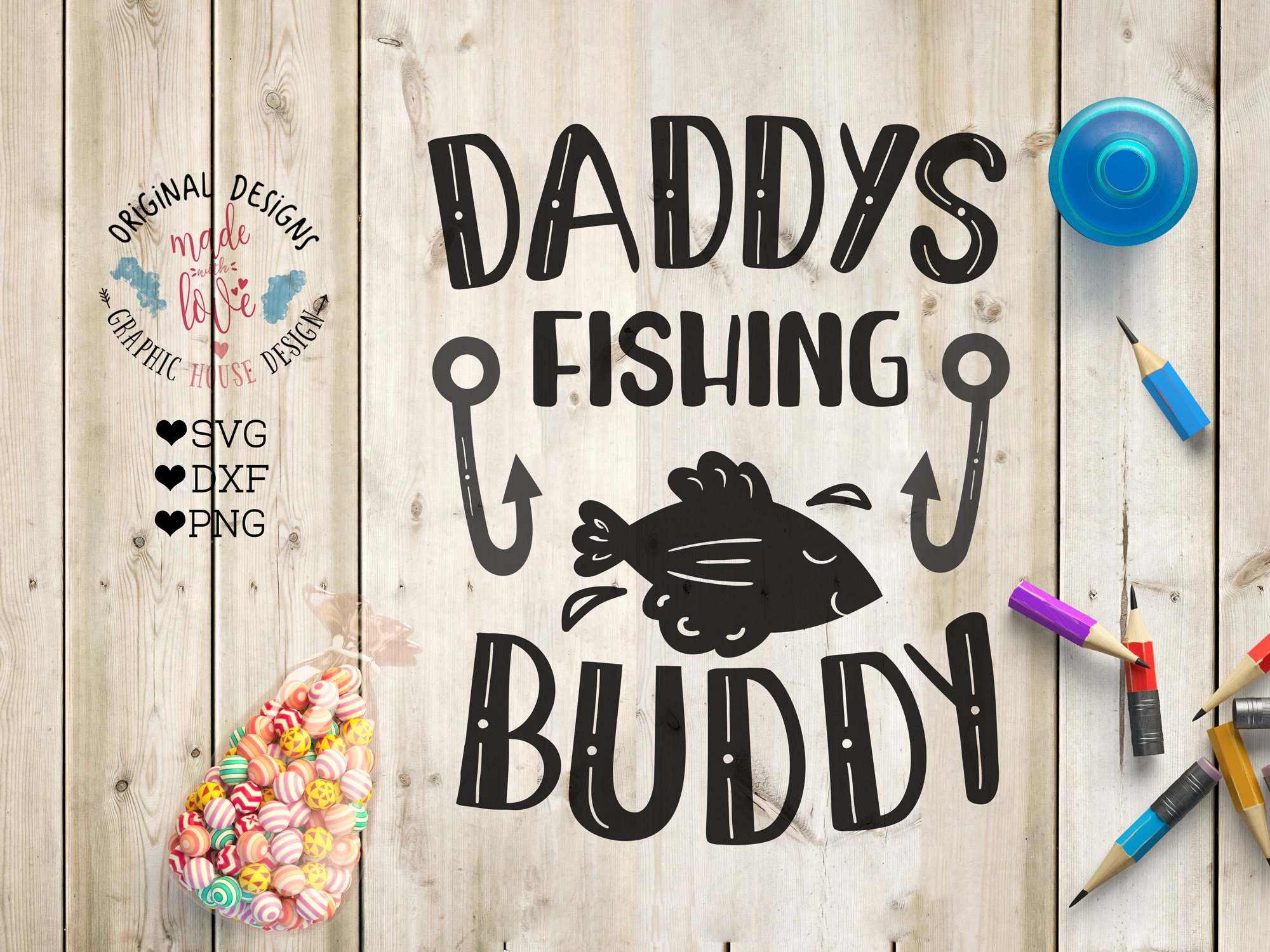 Download Daddy S Fishing Buddy Cutting File Pre Designed Illustrator Graphics Creative Market