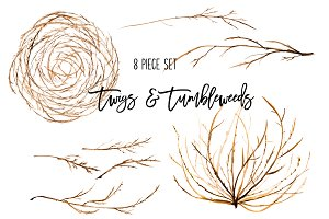 Natural Twigs & Tumbleweed Clip Art