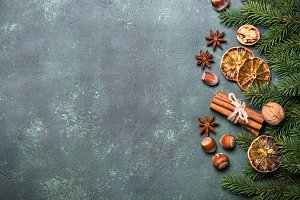 Christmas spices and  decorations