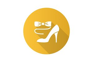Party dress code flat design long shadow glyph icon