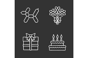 Birthday party accessories chalk icons set