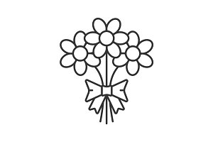Bunch of flowers linear icon