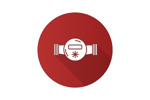 Water meter flat design long shadow glyph icon