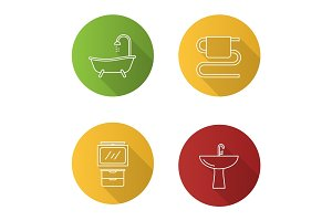 Bathroom interior flat linear long shadow icons set