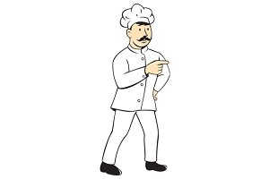 Chef Cook Mustache Standing Pointing