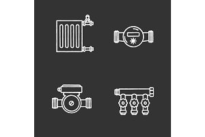 Plumbing chalk icons set