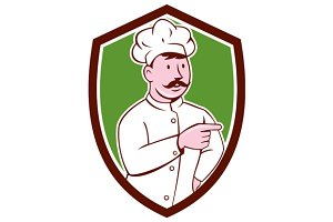 Chef Cook Mustache Pointing Shield C