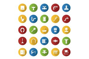 Plumbing flat design long shadow glyph icons set