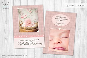 Little Heart -New Born Card Template