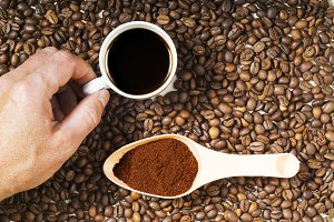 cup of coffee , bean and ground