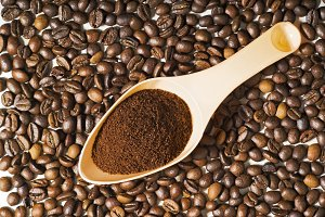 coffee beans and coffee ground