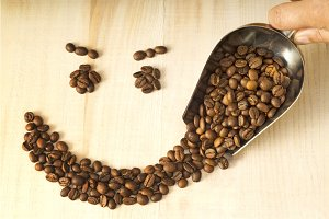 coffee beans with shaped smile