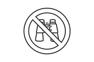 Forbidden sign with binoculars linear icon
