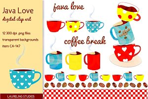 Java Love digital clip art set