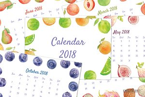 2018 Calendar Watercolor Fruit