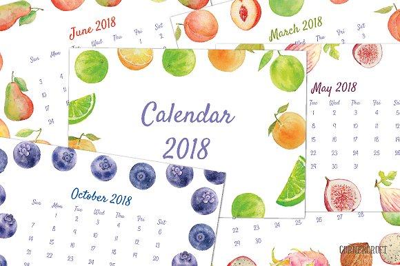 2018 Calendar Watercolor Fruit