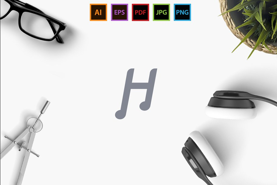 H Music in Logo Templates - product preview 8