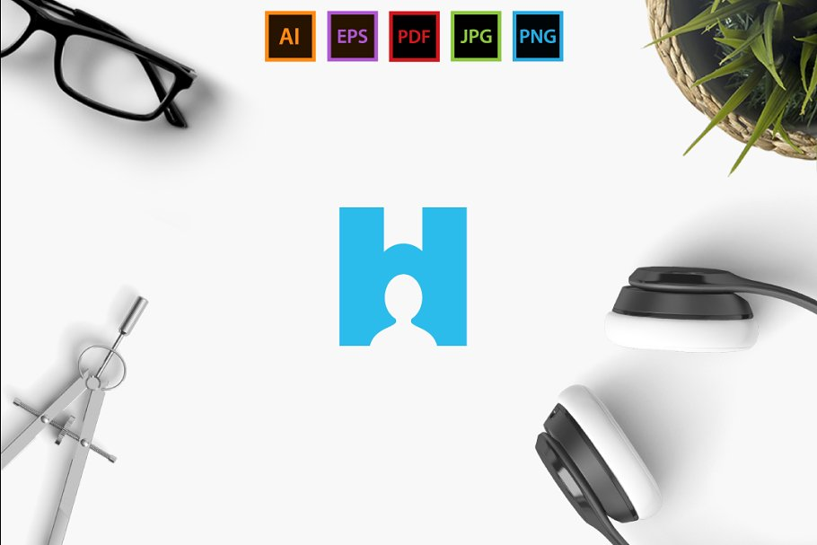 H Human in Logo Templates - product preview 8