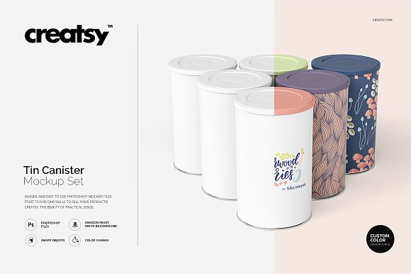 Tin Canister Mockup Set-Graphicriver中文最全的素材分享平台