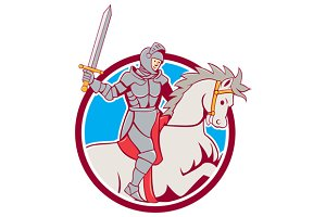 Knight Riding Horse Sword Circle Car