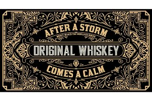 Liquor label with design elements