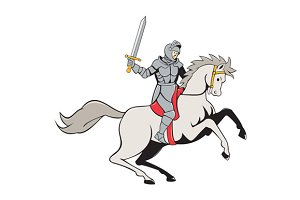 Knight Riding Horse Sword Cartoon