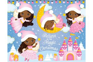 Vector Cute Christmas Fairies