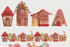 Watercolor Gingerbread Houses