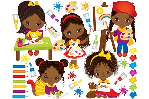 Vector Little African American Girls