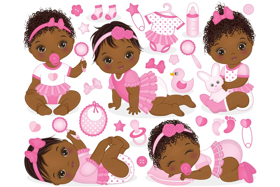 Vector African American Baby Girls Illustrations