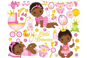 Vector Little Princesses Clipart
