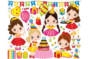 Vector Little Girl Having Birthday