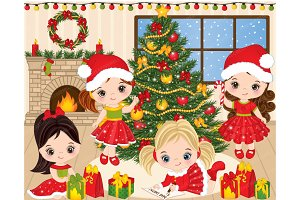 Vector Christmas Little Girls