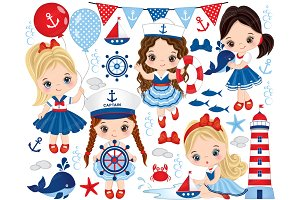 Vector Nautical Little Girls