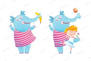 Elephant Girl Dancing Friends