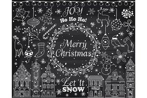 Vector Chalkboard Christmas