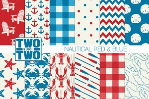Red and Blue Nautical Patterns