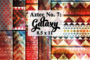 Tribal Aztec Galaxy Digital Paper