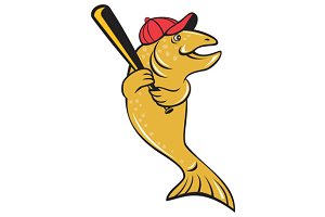 Trout Fish Baseball Player Batting C